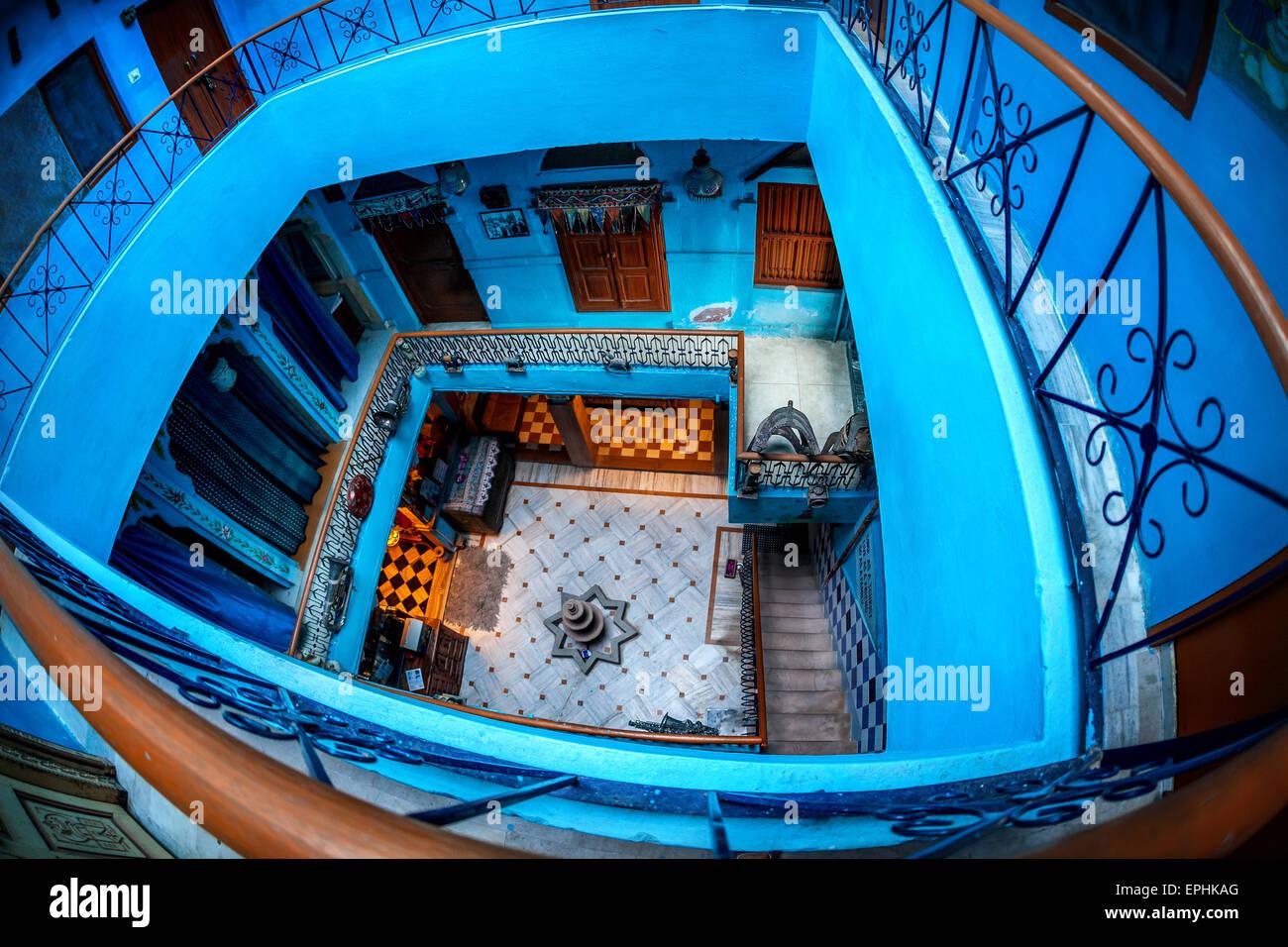 Hébergement en ville bleue de Jodhpur, Rajasthan, India Banque D'Images