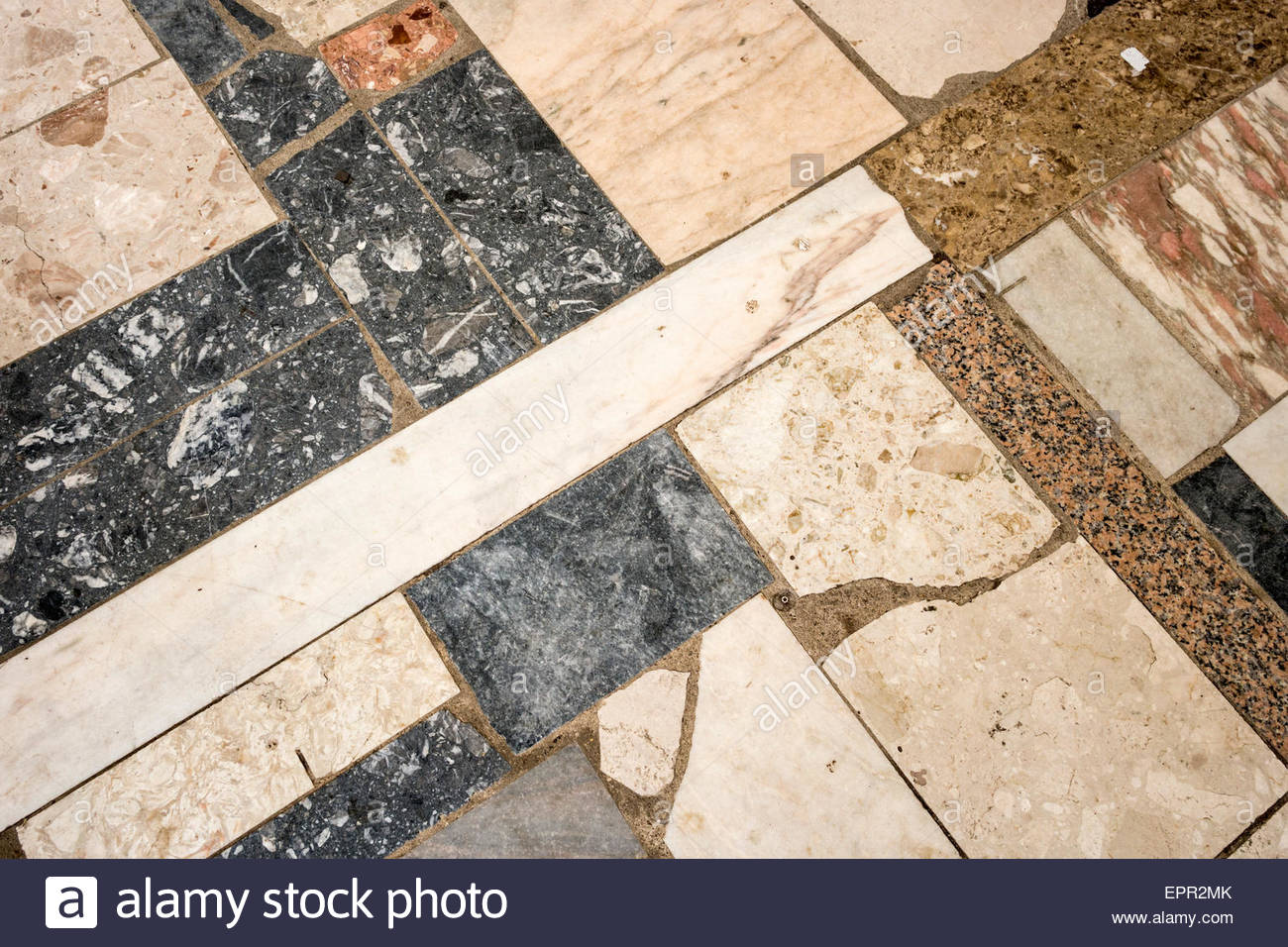Parquet mosaïque de marbre Photo Stock