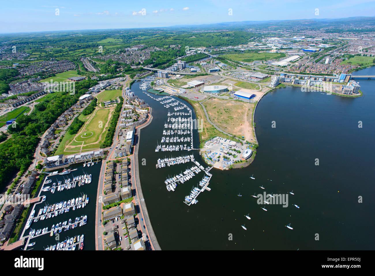 Aerial Cardiff International Sports Village Cardiff Bay Photo Stock