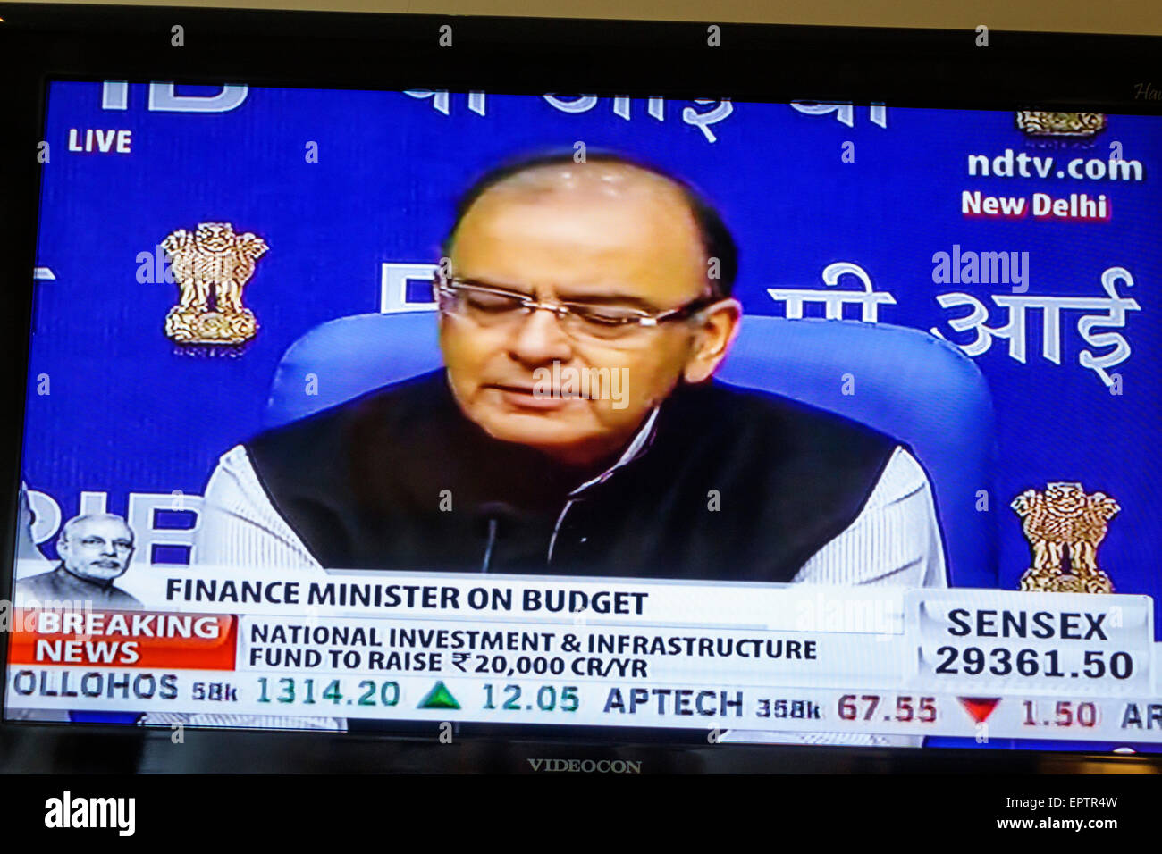 Mumbai Inde Asian Television écran plat câble moniteur budget NDTV Jaitley ministre des Finances Photo Stock