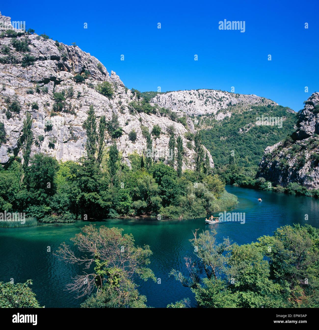 La rivière Cetina près d'Omis ville de Dalmatie, Croatie Photo Stock