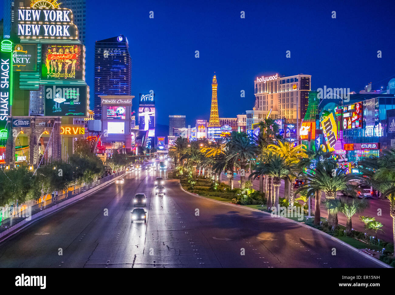 Vue sur le Strip à Las Vegas , Nevada Photo Stock