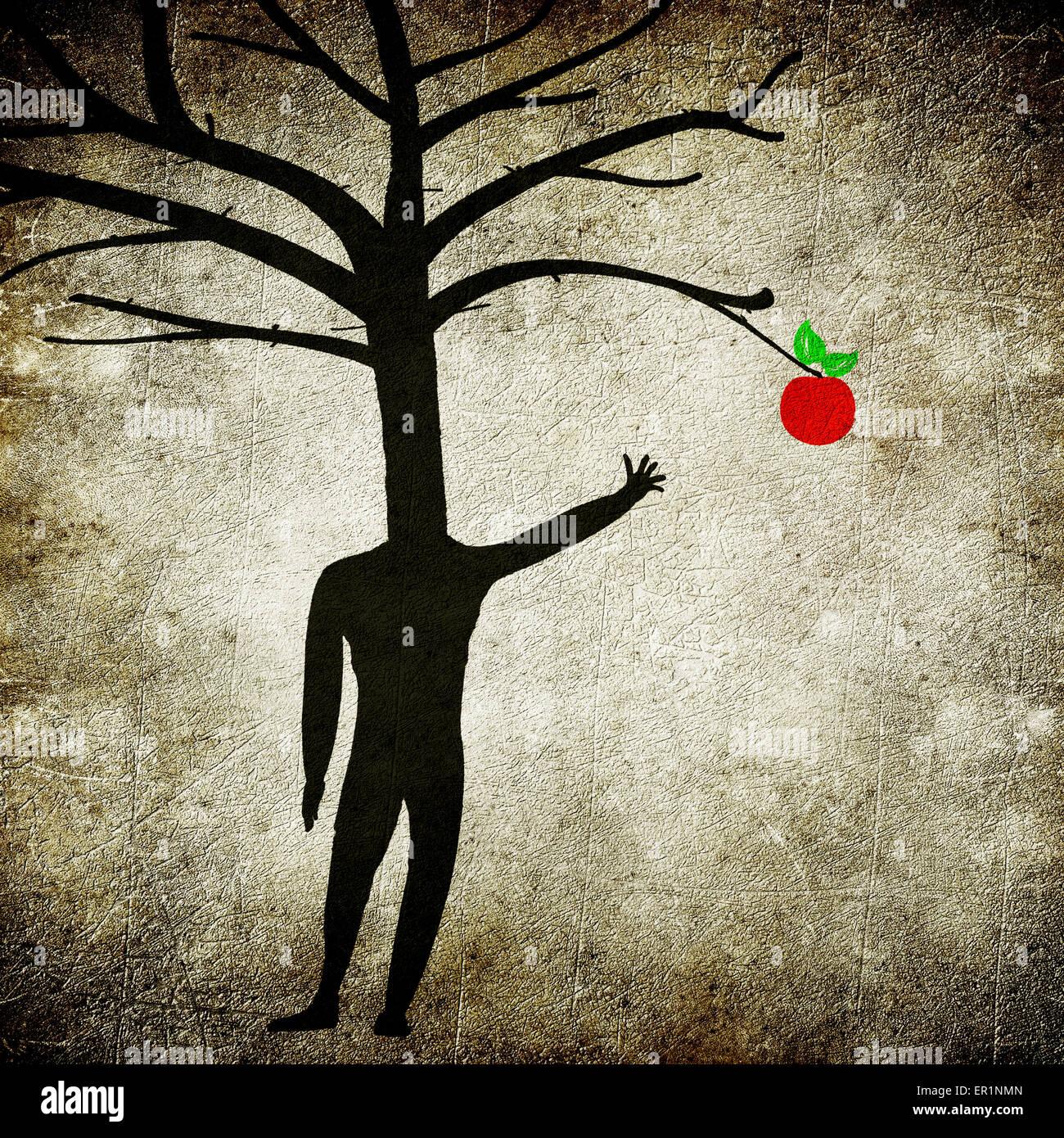 La maladie mentale concept illustration numérique avec l'homme arbre et Apple Photo Stock