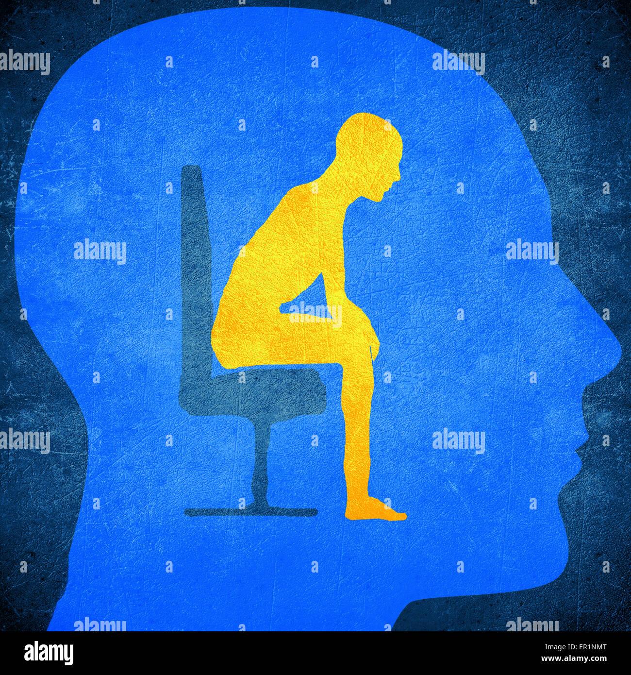 Tête humaine bleu silhouette avec un homme assis à l'intérieur concept psychologie Photo Stock