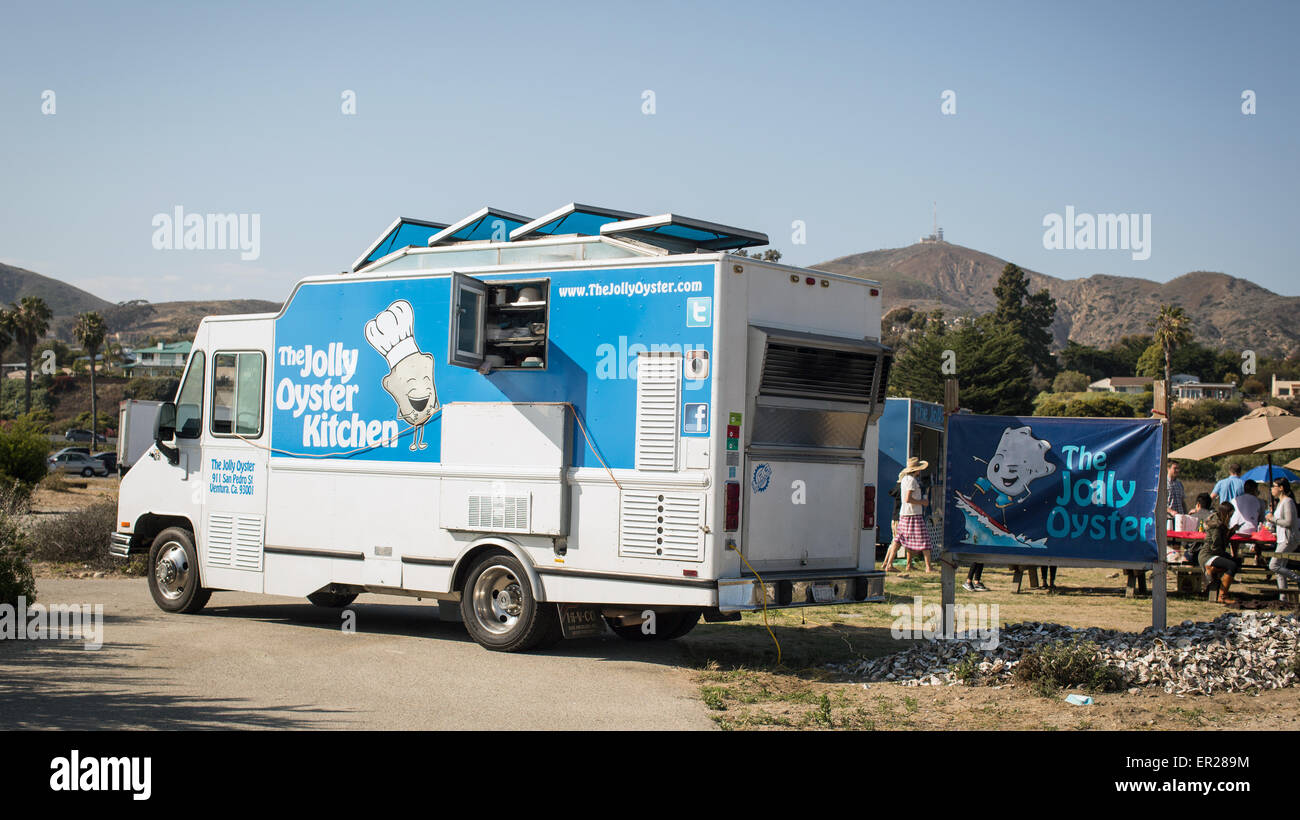 Le Jolly Oyster camion alimentaire au San Buenaventura State Beach à Ventura, Californie. Photo Stock