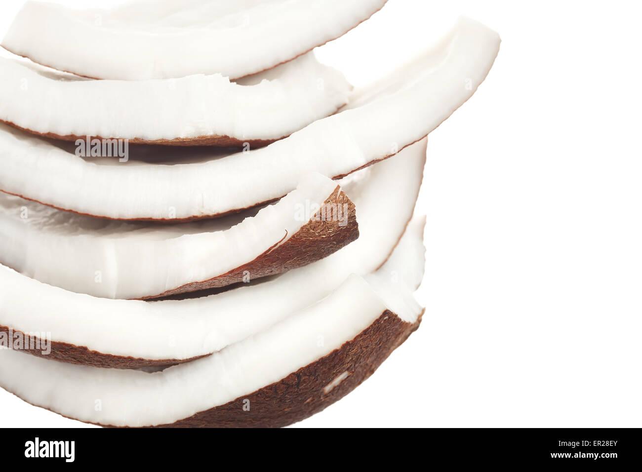 Lait de coco blanc fond isolé de l'ingrédient alimentaire sain nature douce Photo Stock