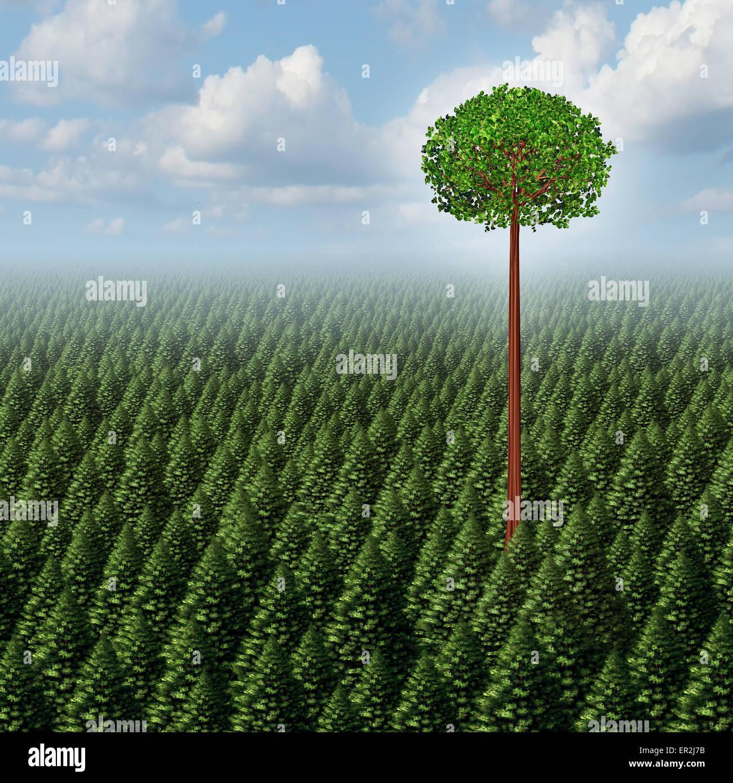 Se démarquer de la foule, une forêt de conifères avec une feuille d'arbre au-dessus de la concurrence Photo Stock