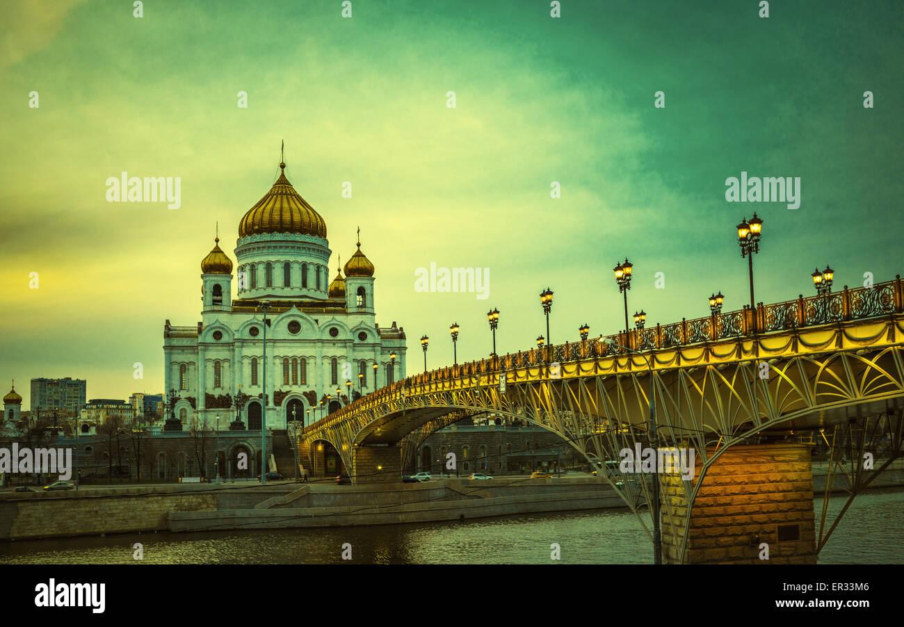 Image style rétro de la Cathédrale du Christ Sauveur à Moscou, Russie Photo Stock