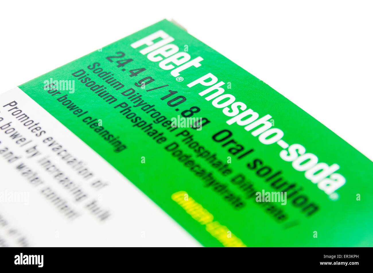 Fleet phospho-soda bol préparation oral solution utilisée pour effacer les intestins avant de procédures Photo Stock