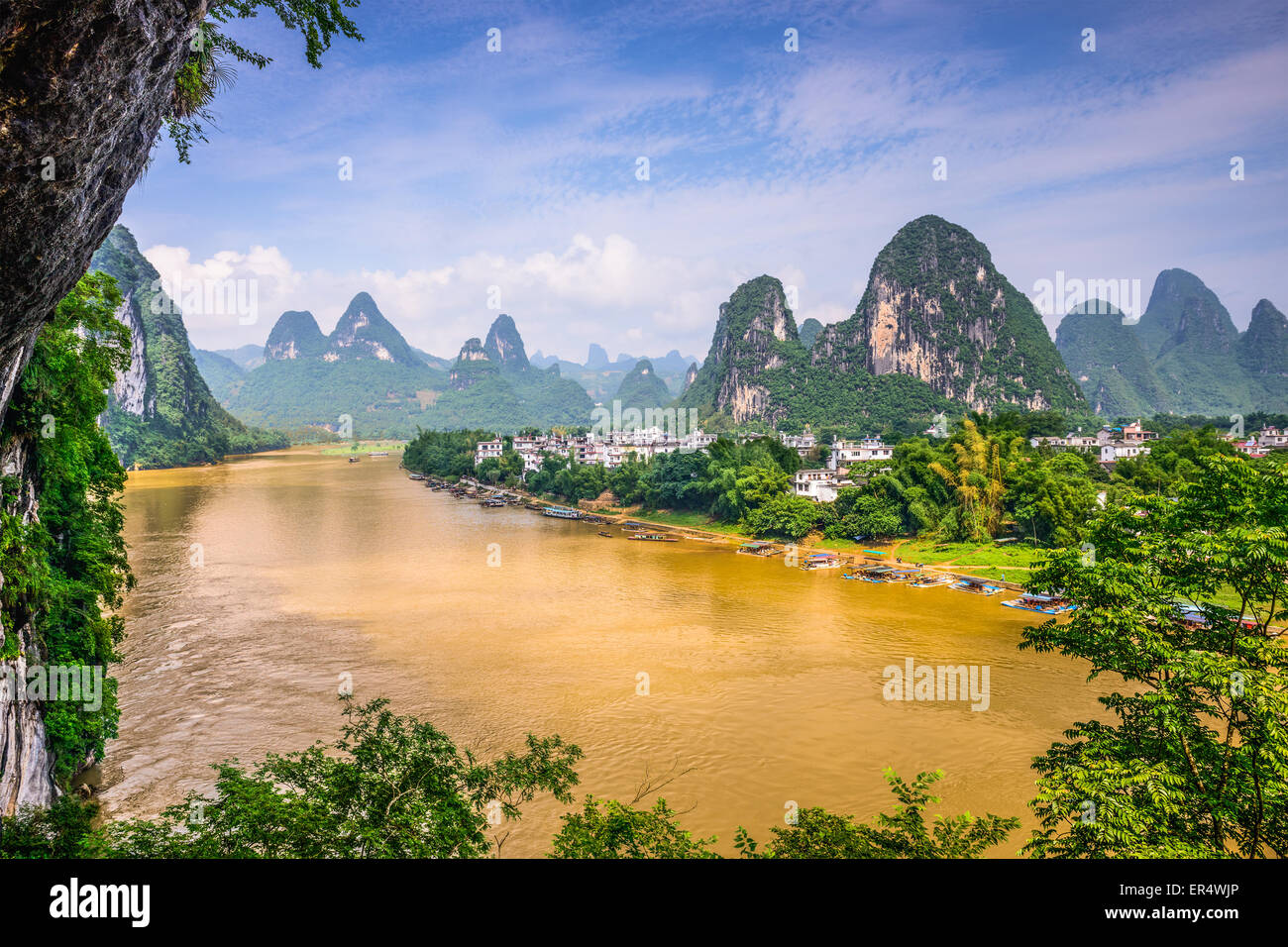 Guilin, Chine sur la rivière Li. Photo Stock