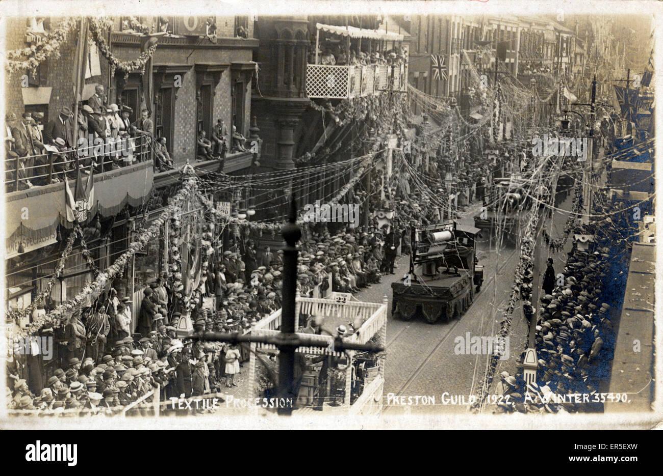 Procession du textile, Preston, Lancashire, Angleterre. Célébrations de la Semaine de la Guilde 1922 Banque D'Images