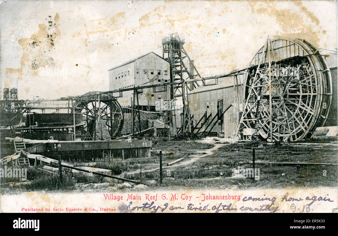 La Compagnie GM Gold Mine, Johannesburg, Gauteng, Afrique du Sud. Titré 'Village Grand Récif'. Photo Stock
