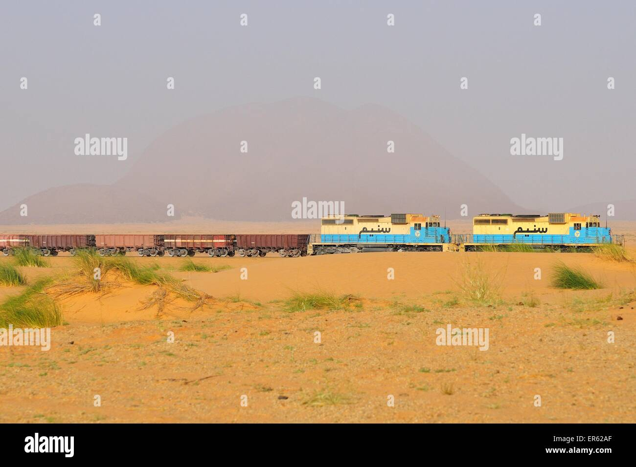 À travers le désert de fer pour le transport du minerai de fer de M'Haoudat à Nouadhibou, port Photo Stock