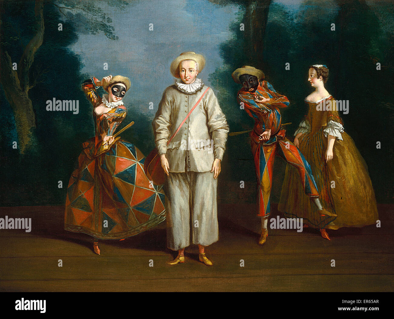 Pierrot et Arlequin, par Philippe Mercier (1689-1760). Une scène de ...