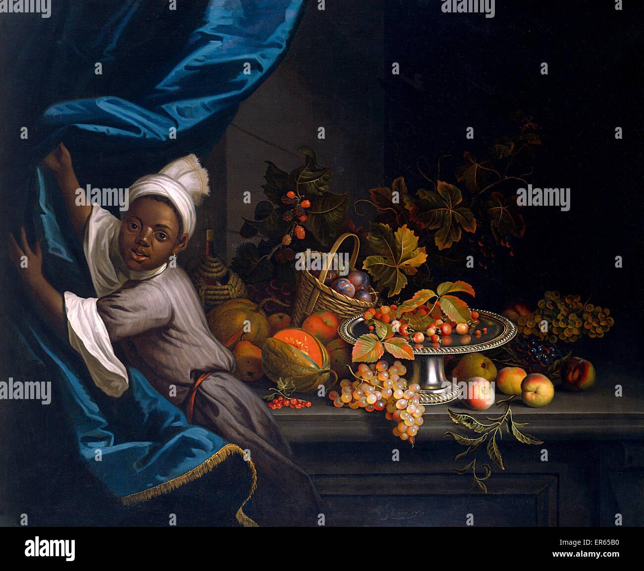Un jeune Moor avec une nature morte de fruits, par Tobias Stranover (1684-1756). 1731 Photo Stock