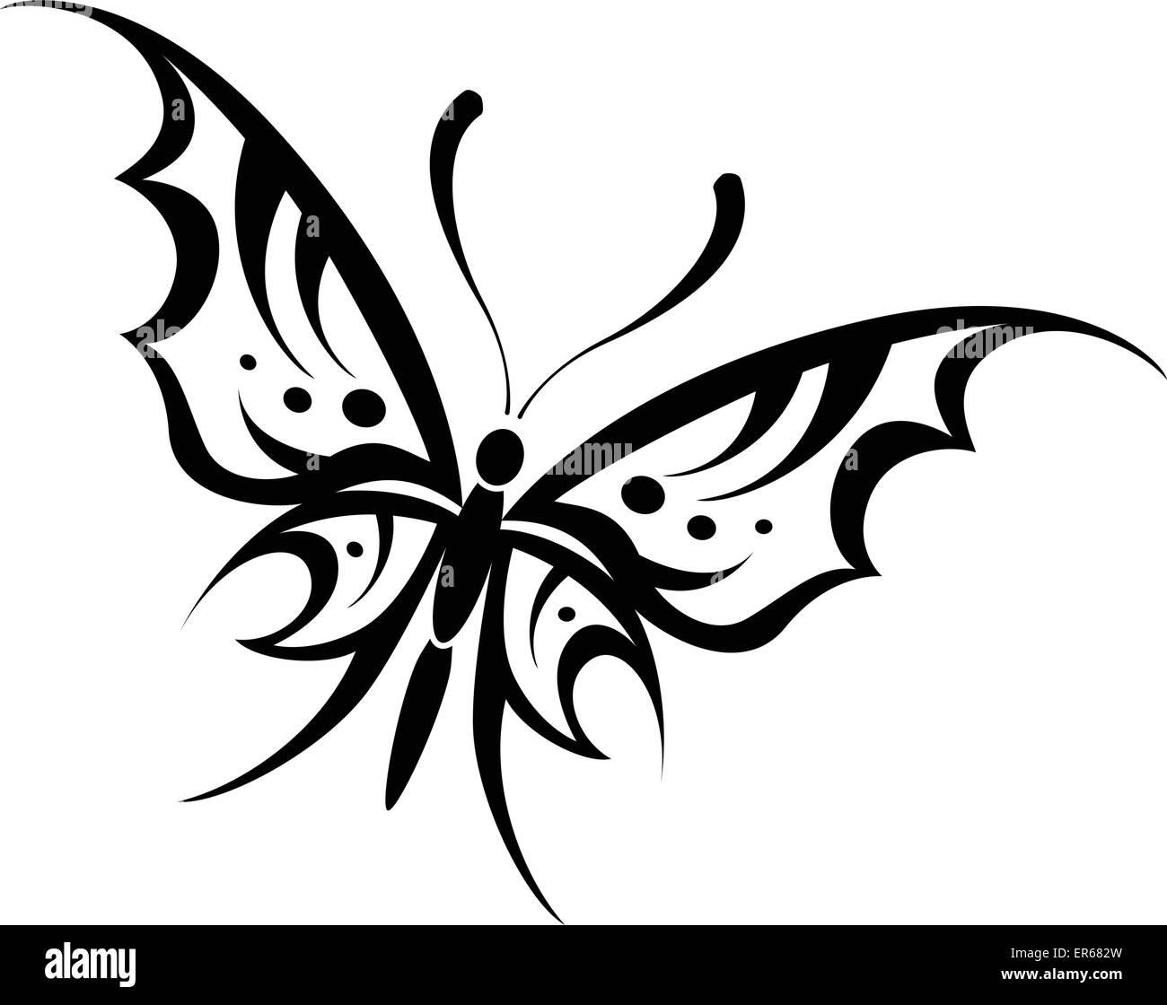 Vector Illustration De Dessin Tribal Papillon Sur Fond Blanc