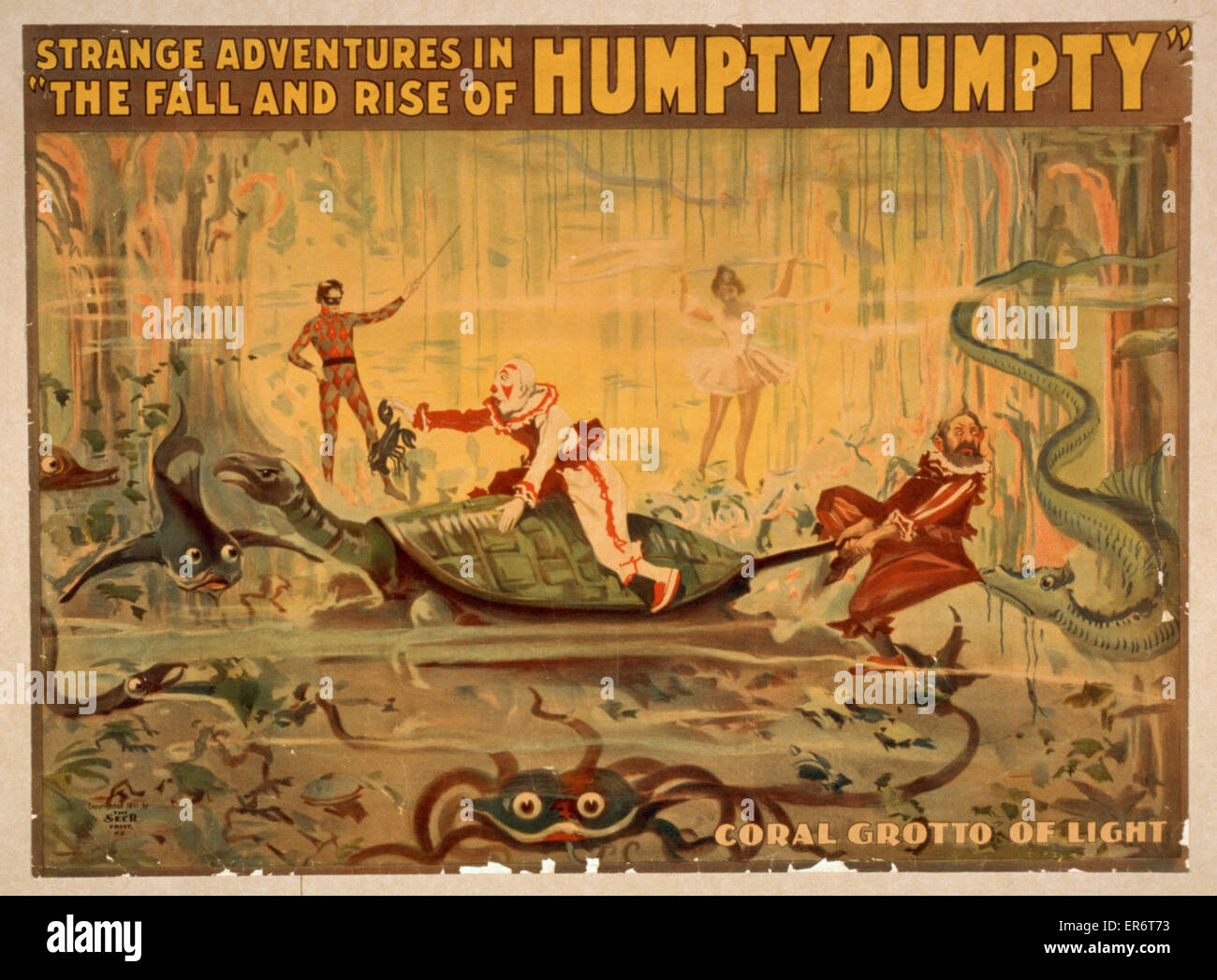 Aventures étranges à l'automne et montée de l'Humpty Dumpty. Date c1899. Photo Stock