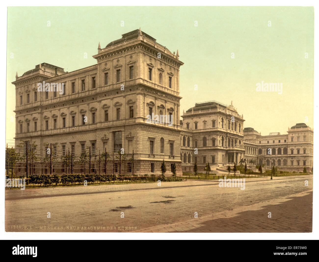 Nouvelle Académie des beaux-arts, Munich, Bavière, Allemagne. Date entre ca. 1890 et ca. 1900. Photo Stock