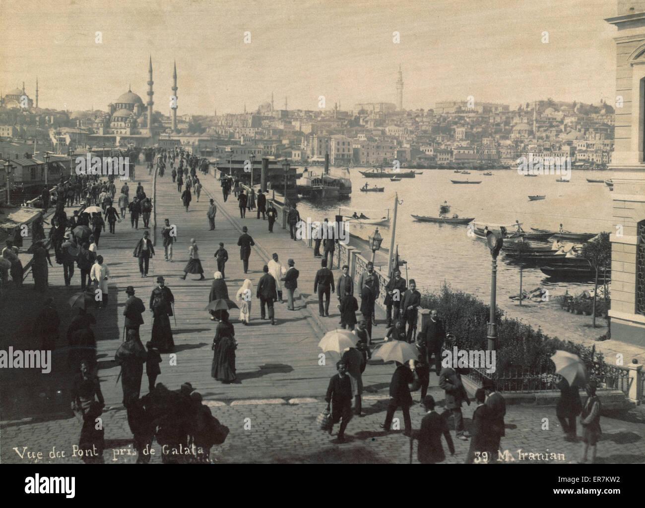 Vue du pont de Galata. Le pont de Galata, Istanbul. Date entre 1870 et 1900. Banque D'Images