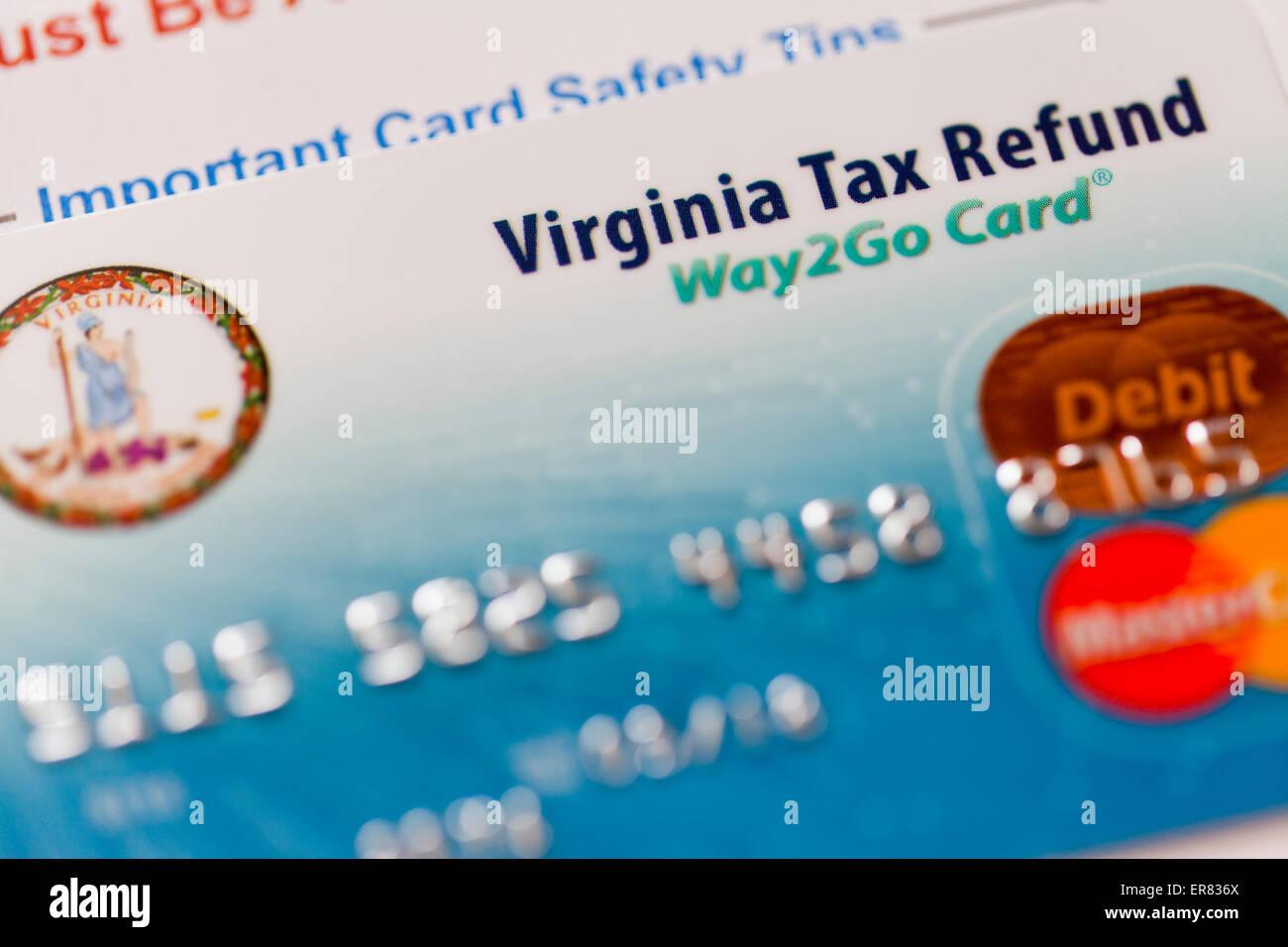 Virginia State remboursement d'impôt sur le revenu carte de débit Photo Stock