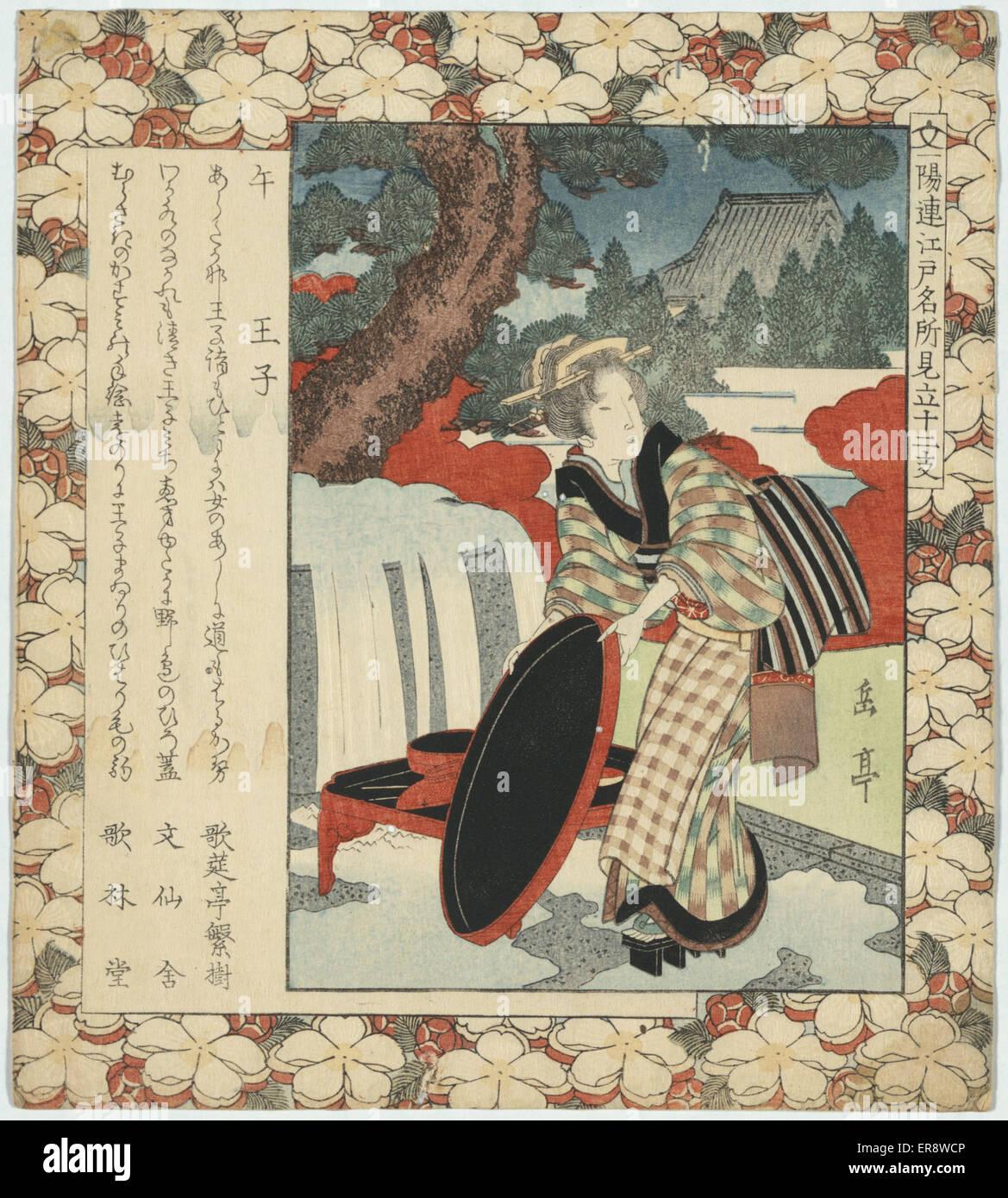 Année du cheval: oji. Imprimer montre une femme, portrait en pied, debout sous un arbre, portant des Photo Stock
