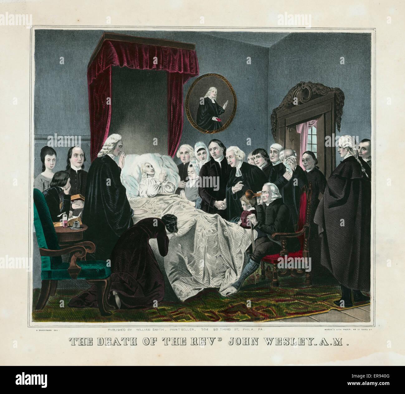 La mort de le pasteur. John Wesley H Imprimer montrant la scène de mort du révérend John Wesley. Photo Stock