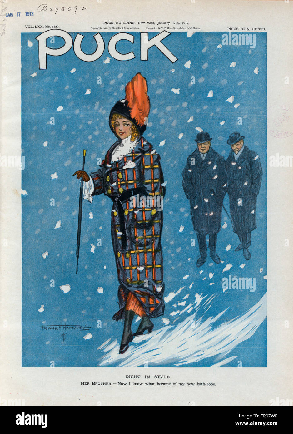 L illustration montre une jolie jeune femme élégamment vêtue de la dernière  mode. Janvier 1912 Date 17. 0085a730c8e0