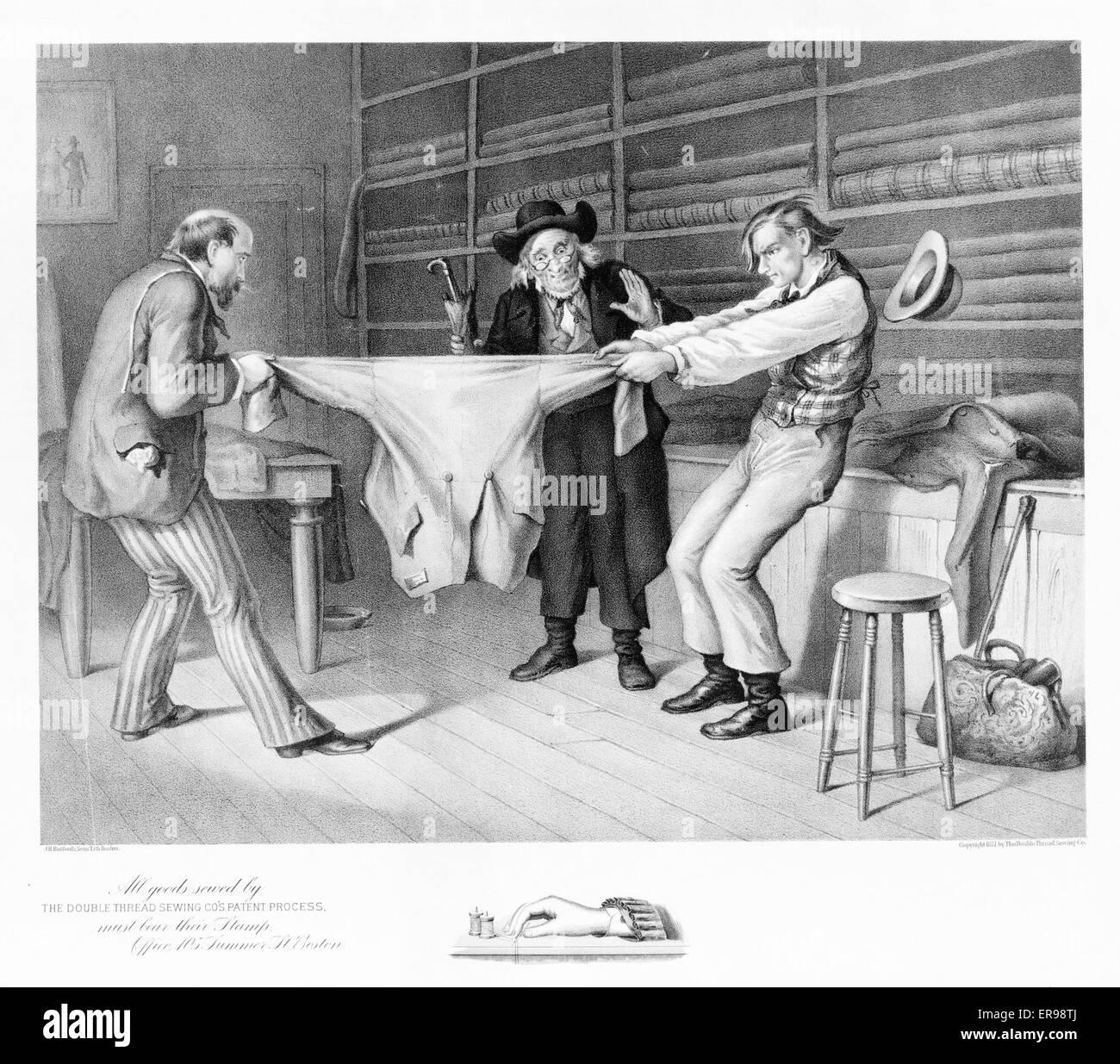 Toutes les marchandises par le Thread cousu double couture Co's. processus de brevet doivent porter leur cachet. Date c1877. Banque D'Images