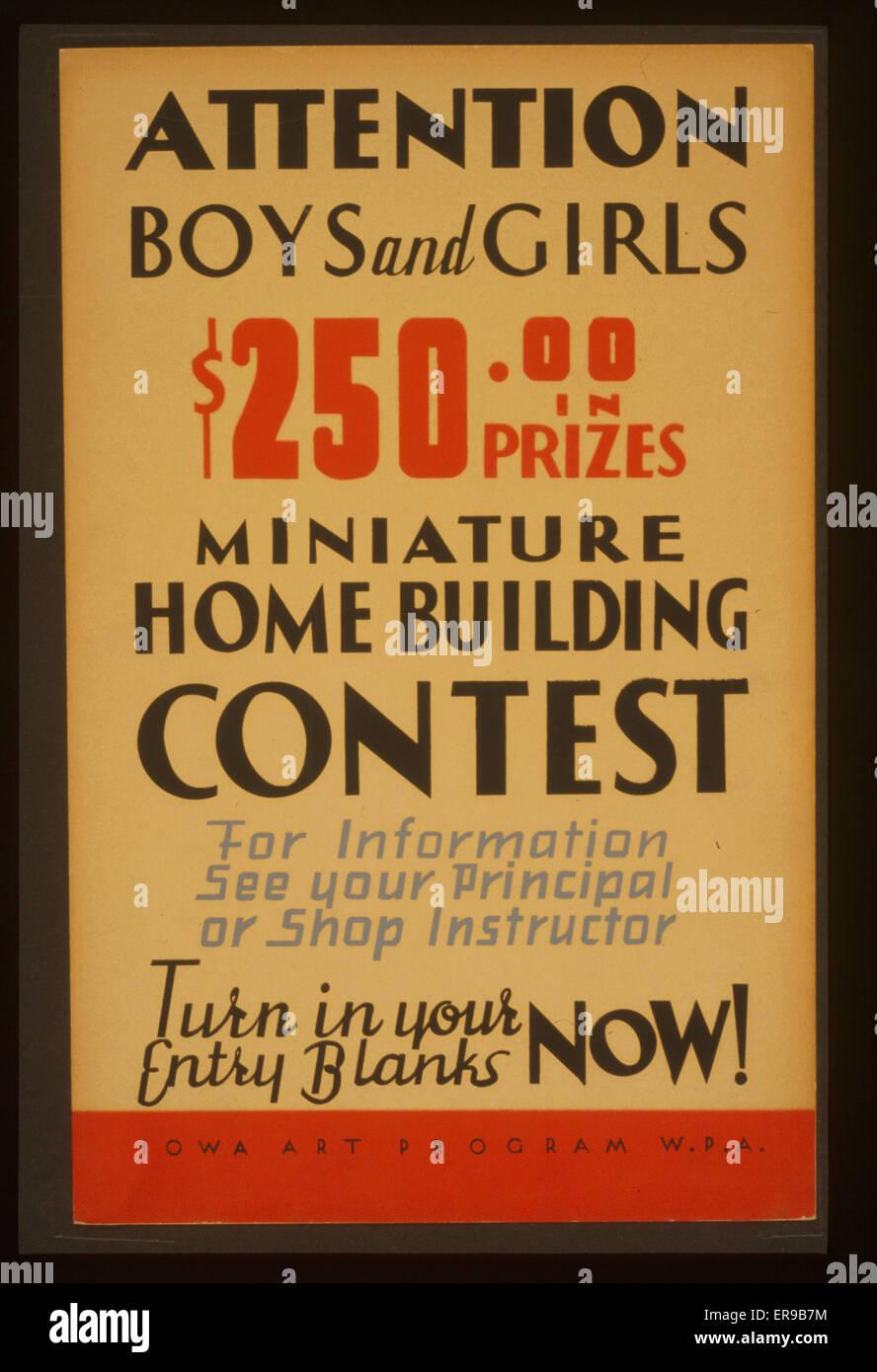 Attention les garçons et les filles - 250 $ en prix - concours de construction de maison miniature affiche Photo Stock