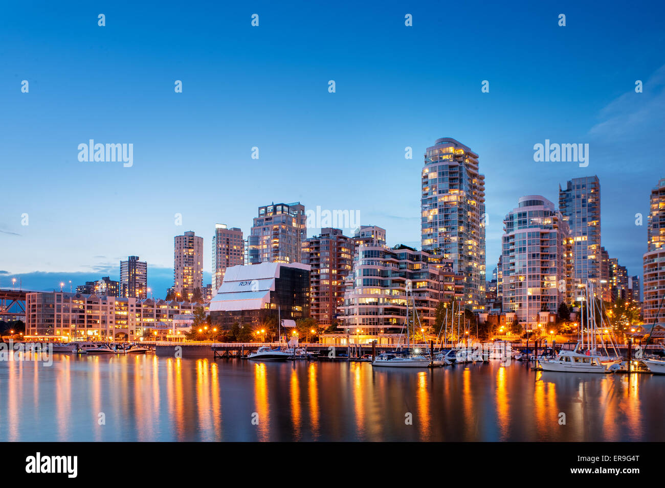 Vancouver skyline at Dusk. Vancouver, Colombie-Britannique, Canada Photo Stock
