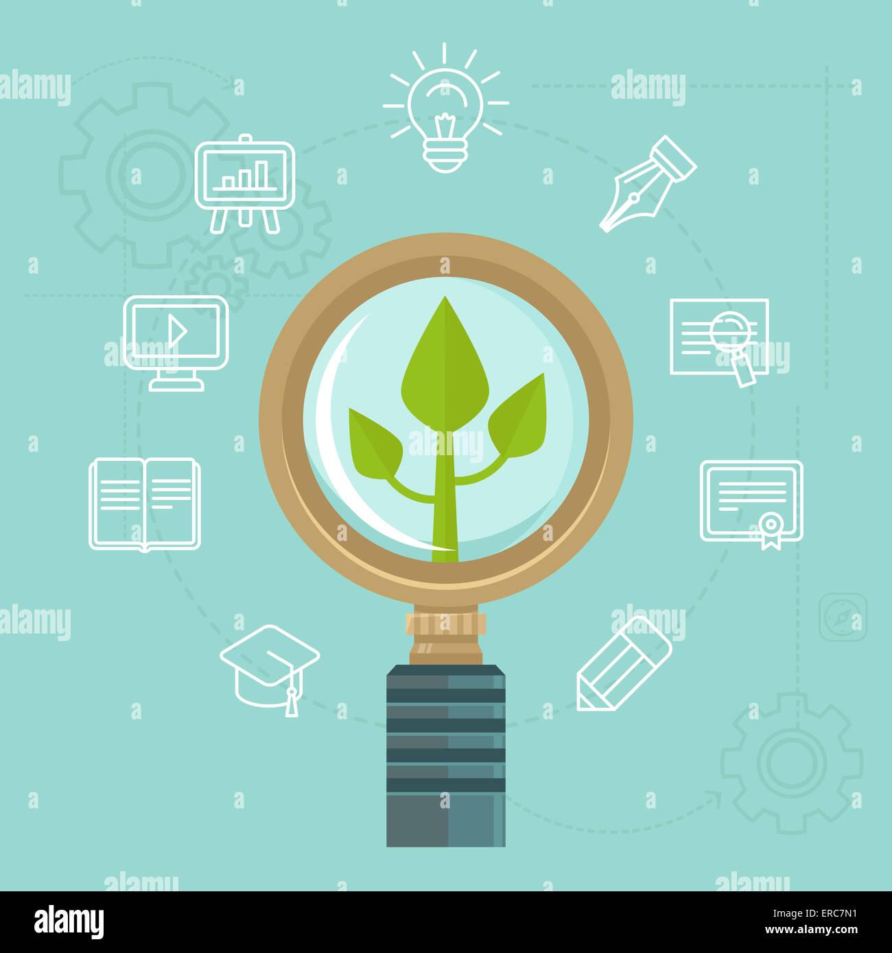 Concept de développement personnel en télévision style - éléments de conception infographique Photo Stock