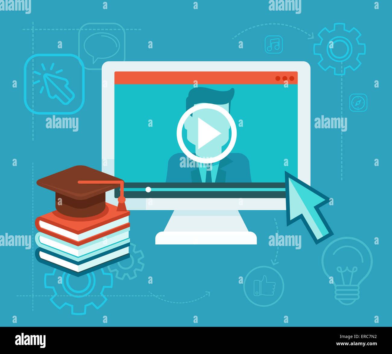 Webinar concept dans télévision style - lecteur vidéo - l'éducation en ligne Photo Stock