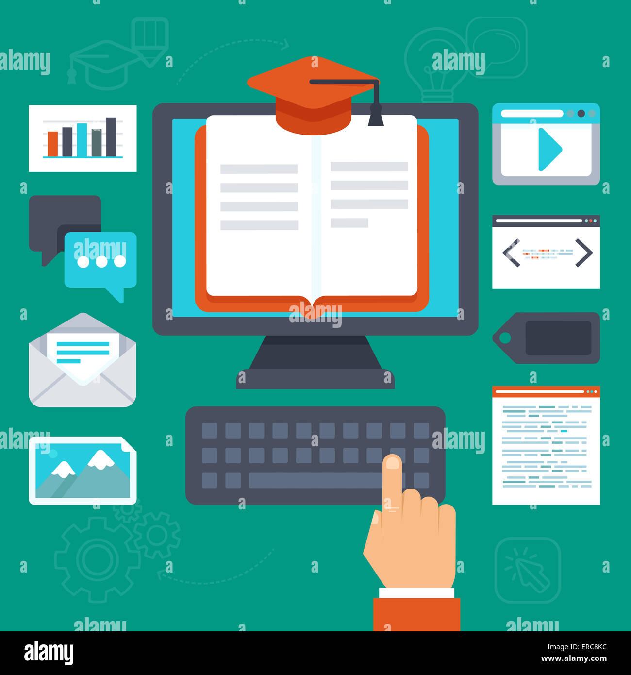 Concept de l'éducation en ligne - illustration dans le style plate Photo Stock