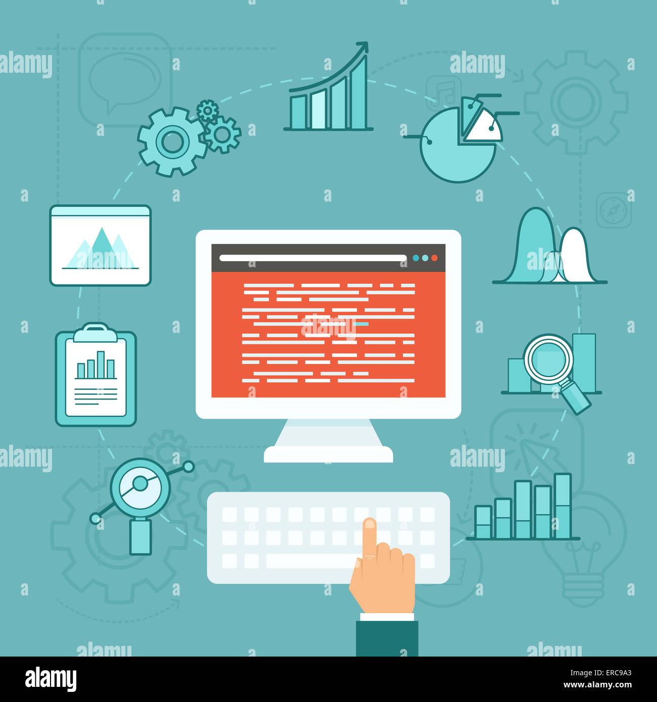 Concept d'analyse de données en télévision style - développement des big data Banque D'Images