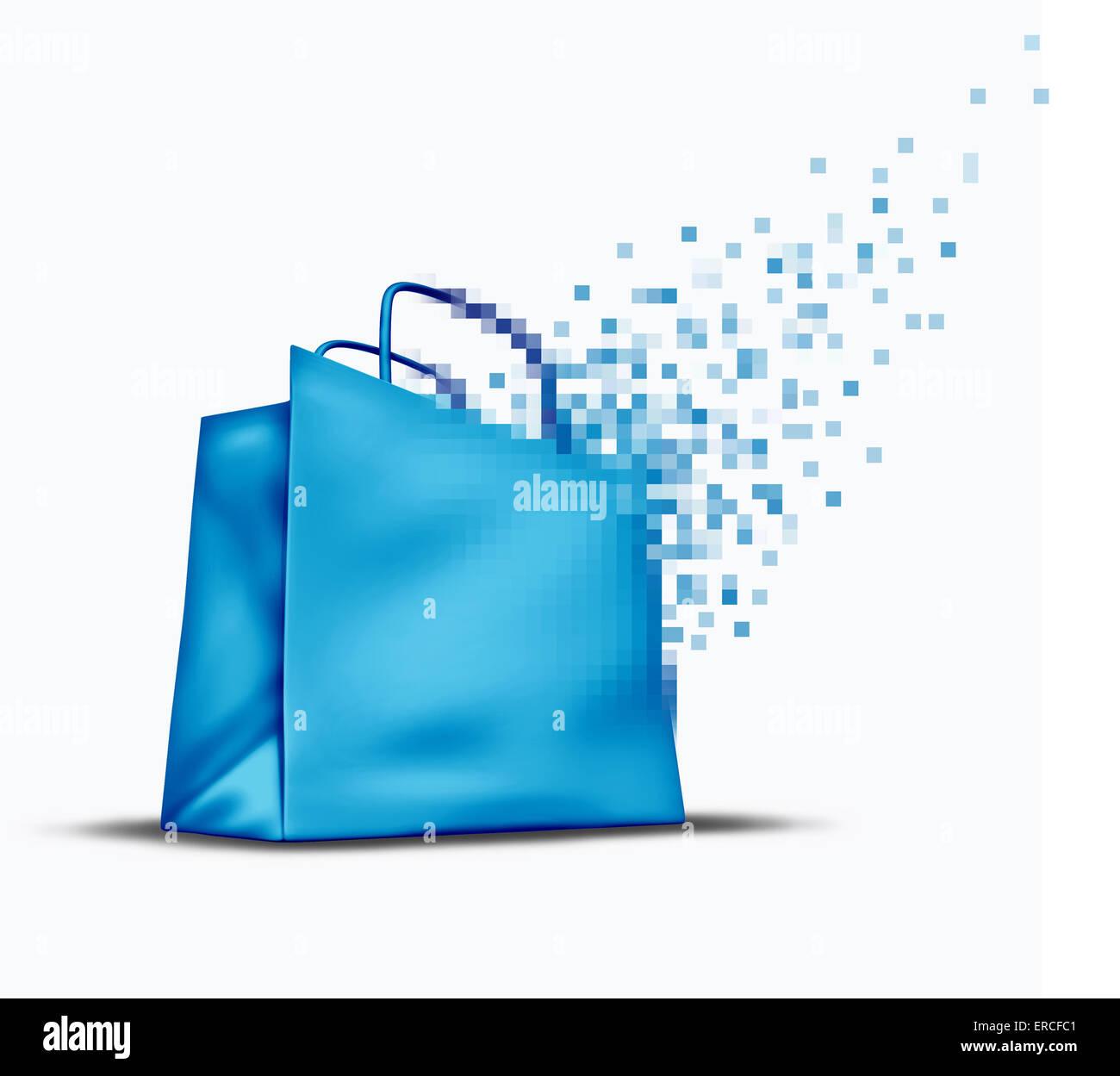 Le magasinage en ligne et e-commerce comme un concept store internet vente symbole avec une boutique sac qui se Photo Stock
