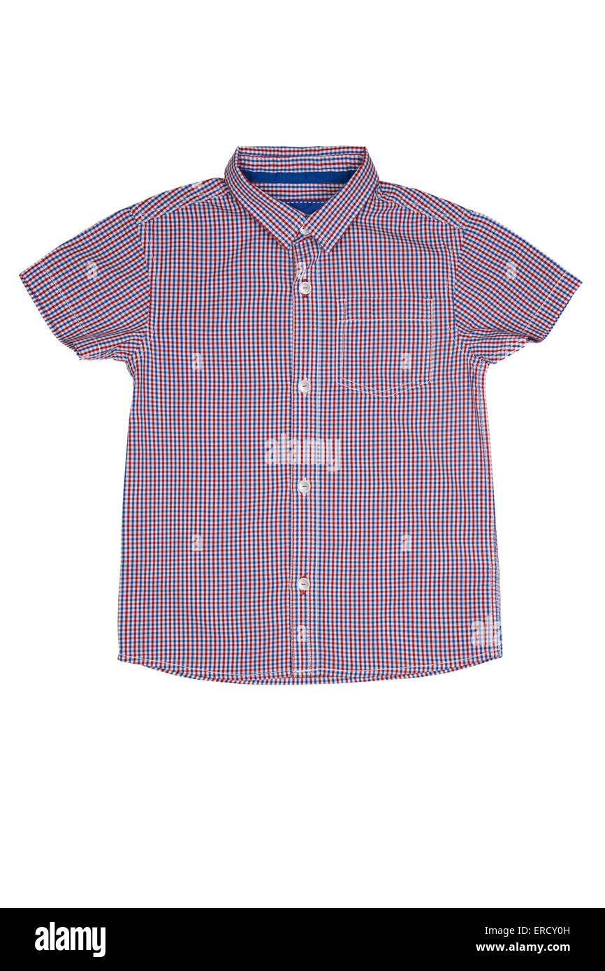 Chemise manches courtes d'été sur fond blanc d'en haut Photo Stock