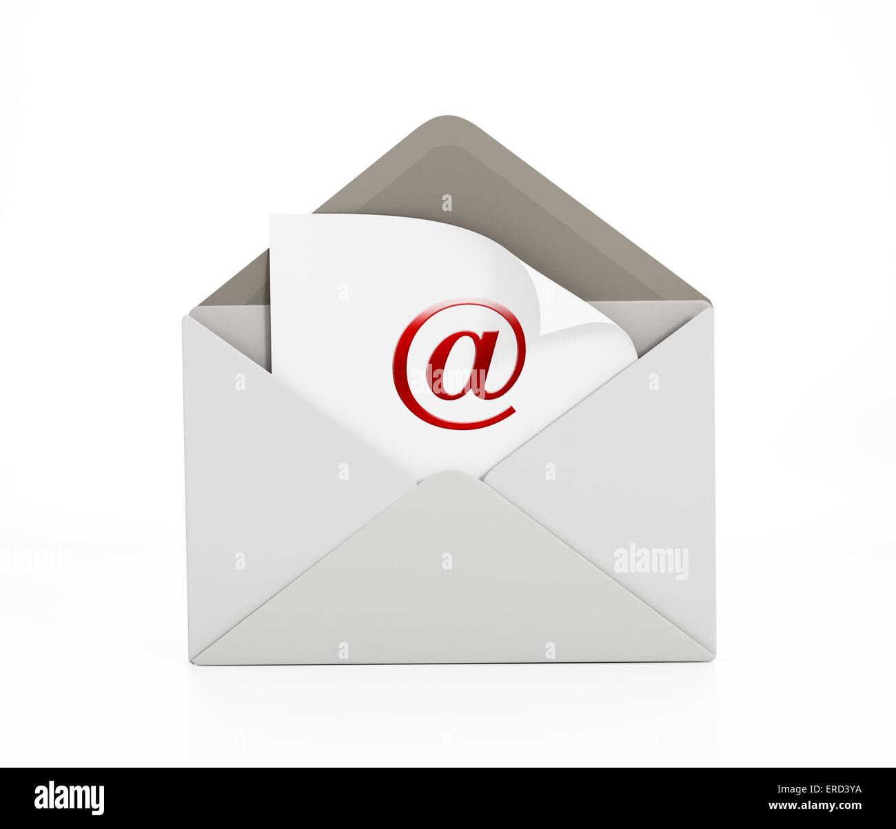 Enveloppe avec l'icône e-mail isolé sur blanc. Photo Stock