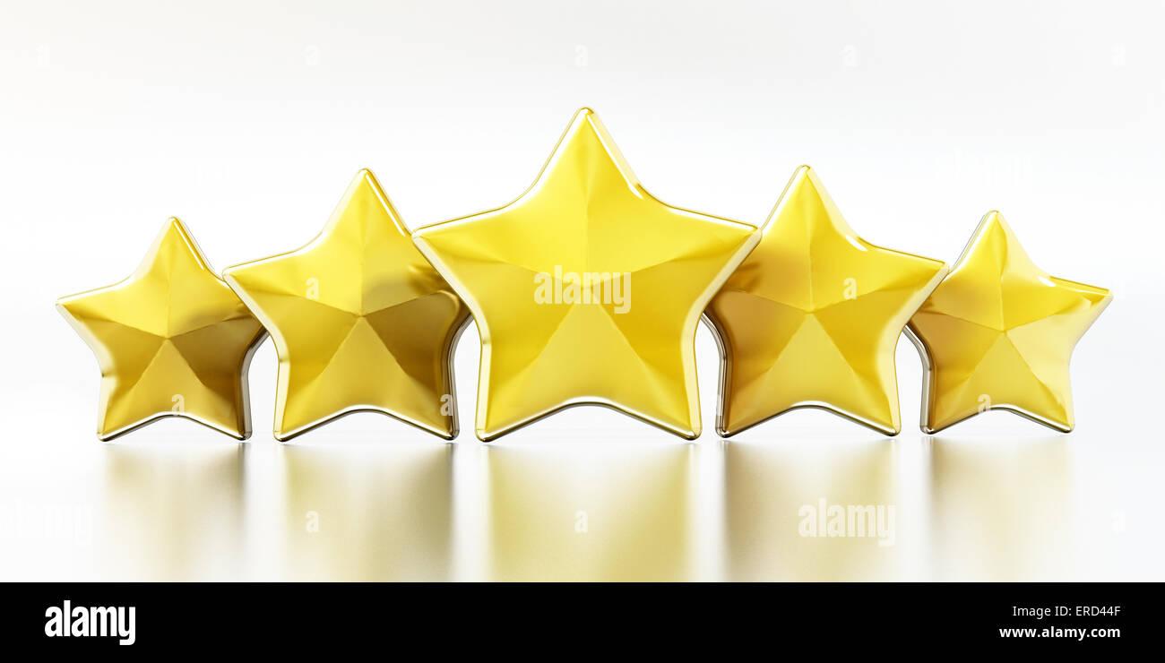 Étoiles d'or sur fond blanc. Photo Stock