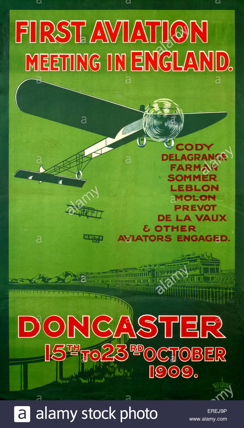 Affiche pour la première réunion de l'aviation en Angleterre, Doncaster 15au 23 octobre 1909. La réunion Photo Stock
