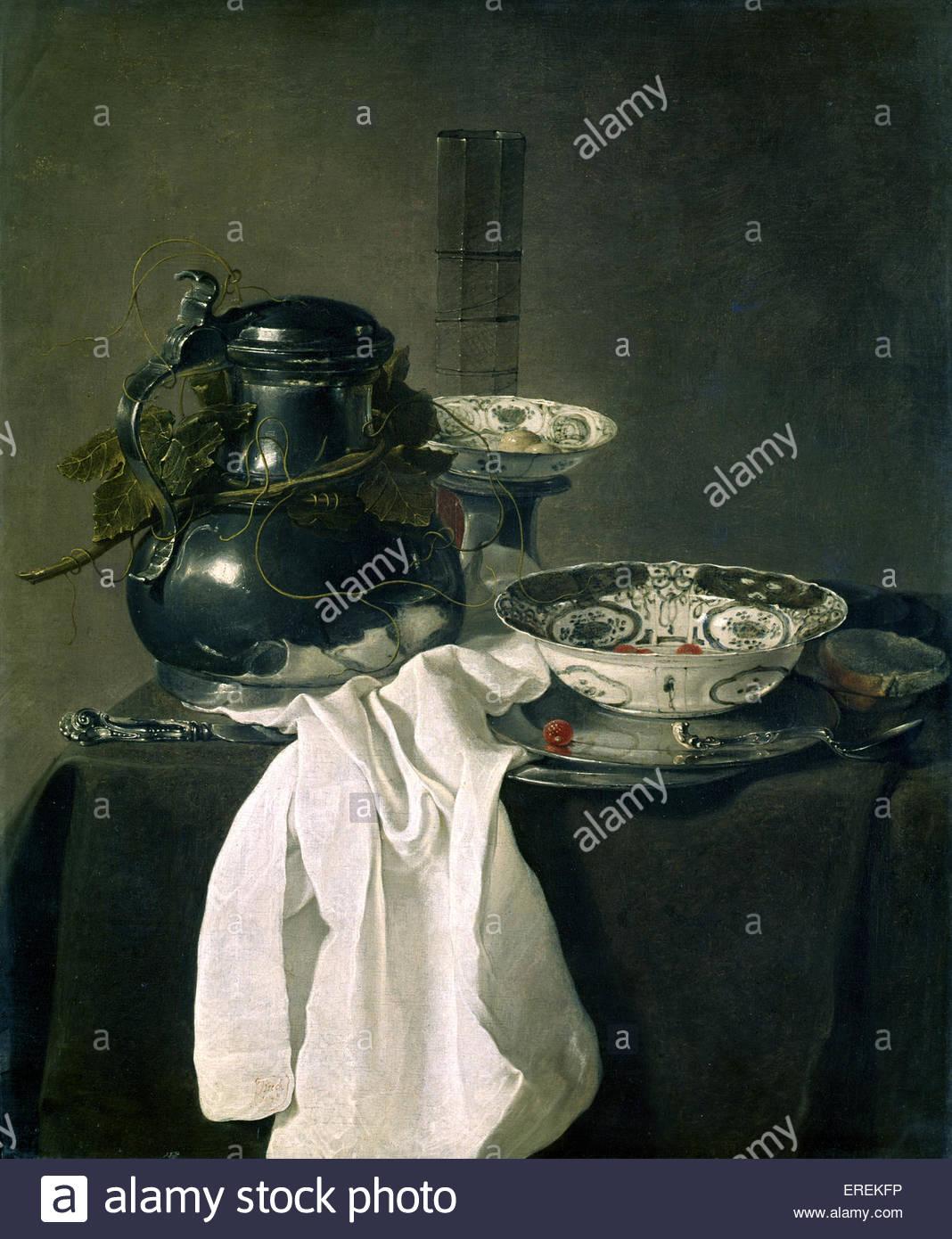 Nature morte au flacon en étain et deux bols Ming par Jan Treck, peintre néerlandais (1605/6 - 1652). Photo Stock