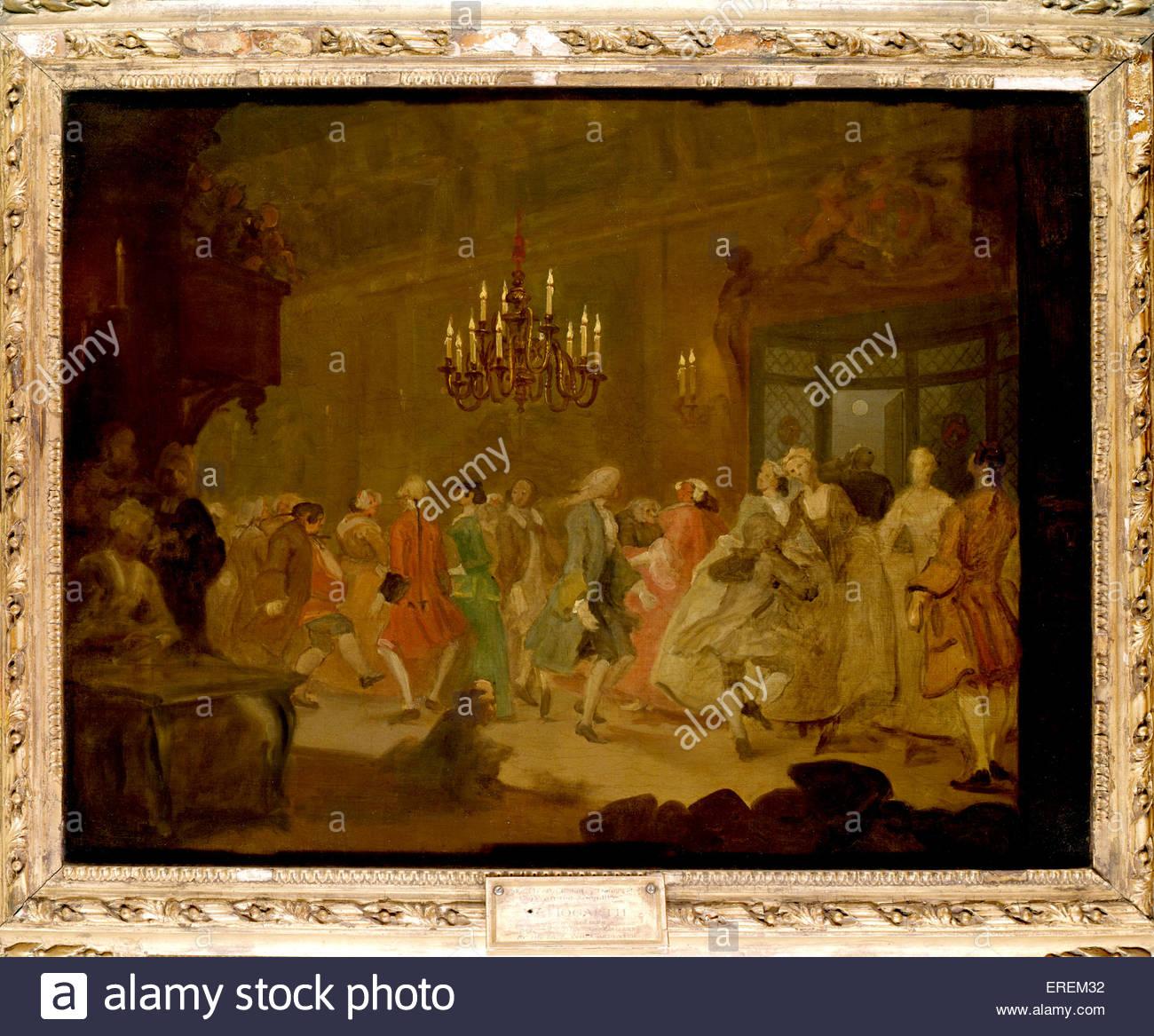 La danse ( / Le mariage heureux VI: La Country Dance) de William Hogarth. Vers 1745, la peinture à l'huile, Photo Stock