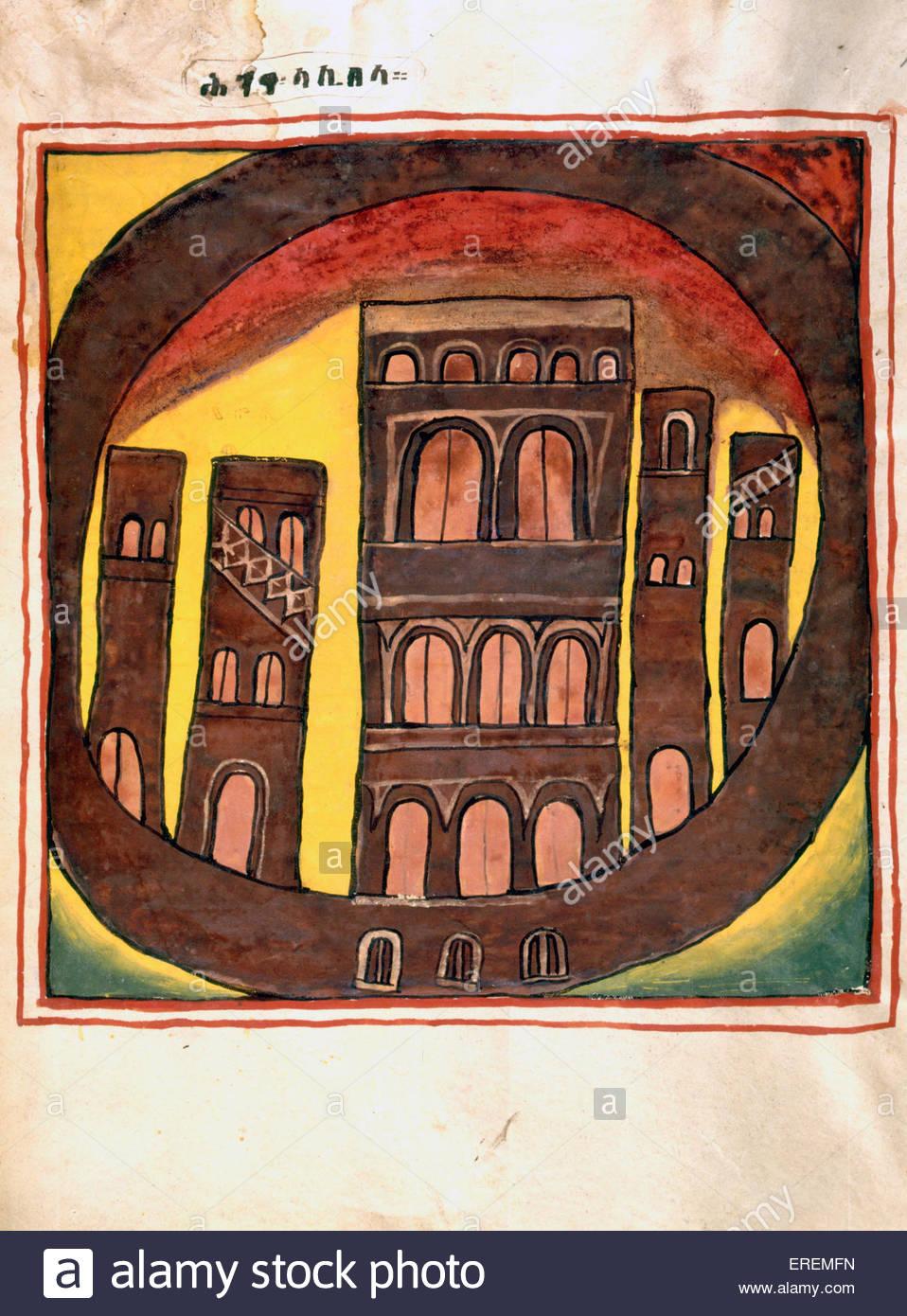 Les bâtiments de Lalibela, Éthiopie. 19e siècle manuscrit lumineux. Peut-être de l'Quesquam Photo Stock