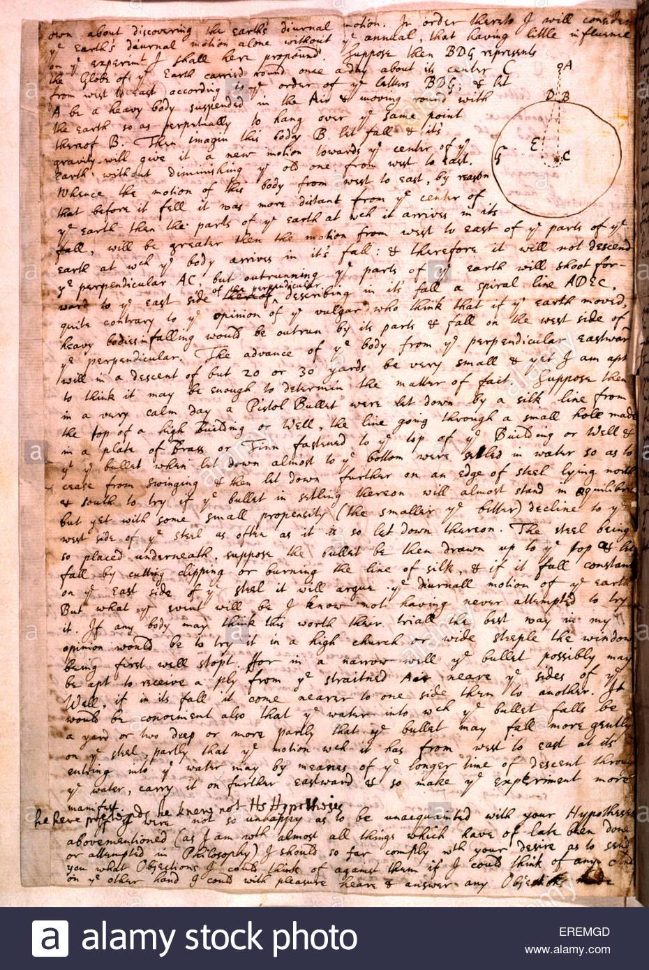 La lettre d'Isaac Newton. En date du 1679, Cambridge, écrit à la main. Physicien anglais, mathématicien, Photo Stock