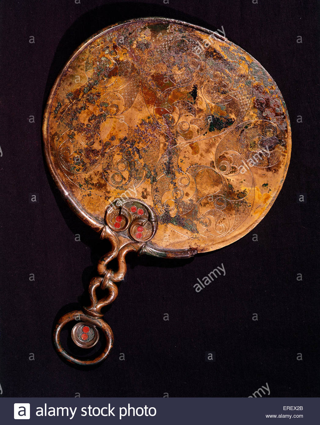 Birdlip - Miroir miroir bronze celtique. En date du 50 MA. Découvert à Birdlip, Gloucestershire, Royaume Photo Stock
