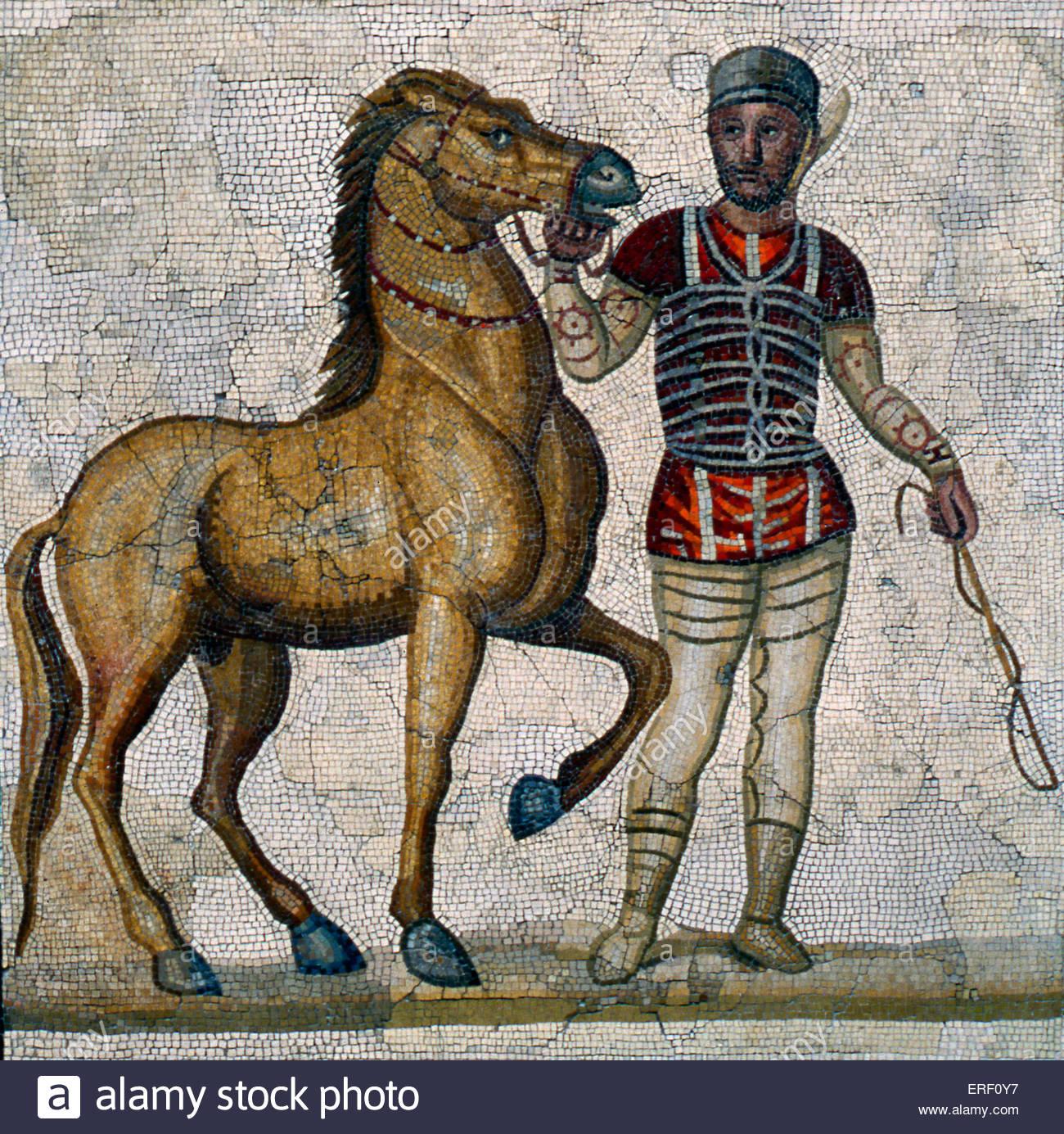 Char Romain - 2 e/ 3e siècle A.D panneau en mosaïque. Photo Stock