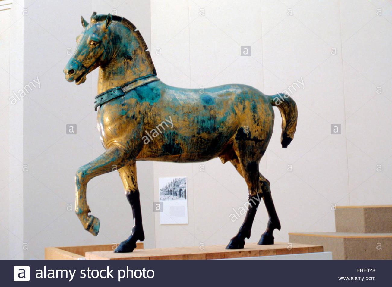 Les chevaux de Saint-marc - l'un des quatre chevaux de bronze à l'origine partie de quadriga (chariot Photo Stock