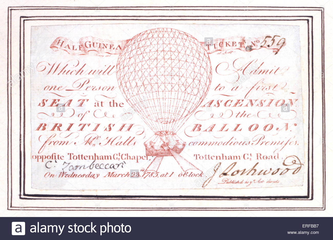 La moitié guinée billet pour une ascension en montgolfière à Tottenham Court Road, Londres, Photo Stock