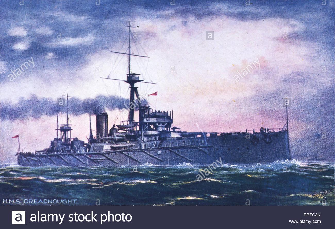 Le HMS Dreadnought, début du xxe siècle battleship carte postale. Photo Stock