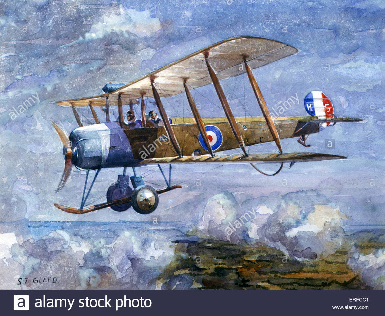 Avro 504 en vol par S G Gleed. Royal Air Force Museum, Hendon Photo Stock
