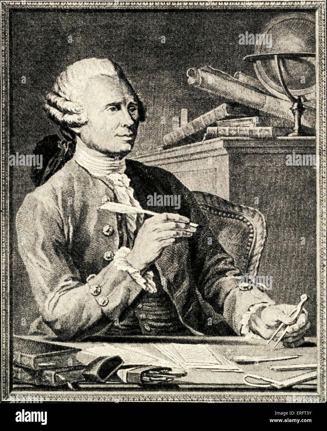 Jean Le Rond D'Alembert - illustration par Nicolas-Rene Jollain (Peintre français: 1732 - 1804), Photo Stock